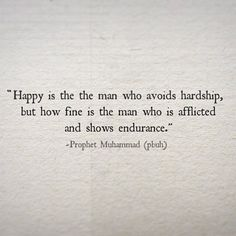 how fine is the man who is afflicted and shows endurance