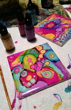 Katie Clark Art! : Photo Tile Art, Tile Painting, Pour Painting, Mosaic Art, Fabric Painting, Pincel, Teaching Art, Katie Clark, Alcohol Inks