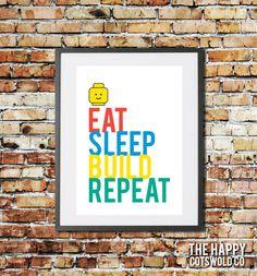Typographic 'Eat, Sleep, Build, Repeat' Lego Quote Art Print. Lego mini figure head. Kids minifigure decor nursery wall art