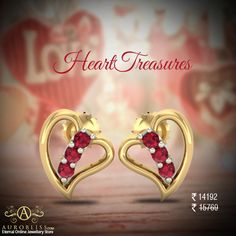 If your sweetheart is a true romantic, then she deserves this adorable heart studs. Use to get Flat Off. Ruby Stone, Valentines Day Hearts, Heart Of Gold, Heart Earrings, Jewelry Stores, Heart Shapes, Heart Ring, Studs, White Gold