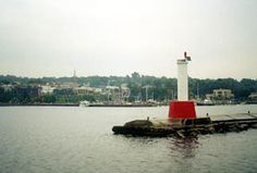 Petoskey Pierhead,MI.Located at the end of the breakwater forming the harbor in Petoskey.  Latitude: 45.38. Longitude: -84.9616