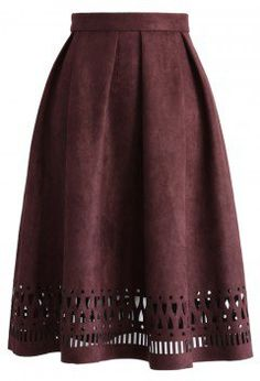 Geo Cutout Suede Pleated Midi Skirt in Plum - Retro, Indie and Unique Fashion