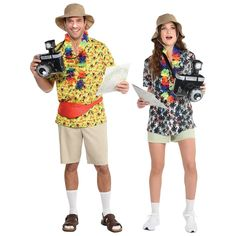 Take all the pictures you could ever want of this Tacky Tourist Kit, just don't forget to sunscreen up. This fun costume includes a large inflatable camera with neck strap, oversized floppy hat with adjustable chin strap, and map prop. One size fits all. Leis and Hawaiian shirts not included. Gender: unisex. Age Group: adult. Cute Couple Halloween Costumes, Funny Costumes, Theme Halloween, Group Halloween Costumes, Halloween Outfits, Cool Costumes, Adult Costumes, College Costumes, Friend Costumes