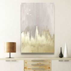 Oliver Gal Off-white Starry Night Canvas Wall Art - Think beyond that other starry night and decorate differently with the Oliver Gal Off-white Starry Night Canvas Wall Art. An abstract splash of gold a...