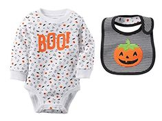 Carters Unisex Baby Boys Girls Halloween BOO Bodysuit With Pumpkin Bib Set 12 Months ** You can get additional details at the image link.Note:It is affiliate link to Amazon.