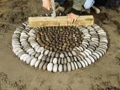 Kieselmosaik: Kieselsteine auf etwa gleiche Hoehe bringen