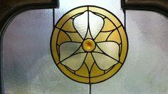 Hospital de Sant Pau - yellow flower in stained glass - Barcelona