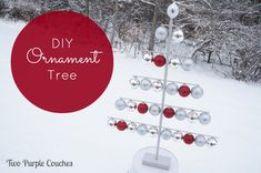 DIY Ornament Tree by Two Purple Couches