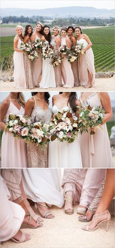 Summer Wedding Dresses Beautiful mix-and-match blush bridesmaid dresses More - Enjoy this late summer romance winery wedding with its sweeping vineyard views we cannot get enough of. Blush Bridesmaid Dresses, Bridesmaids And Groomsmen, Wedding Bridesmaids, Wedding Dresses, Women's Dresses, Mix Match Bridesmaids, Bride Dresses, Long Dresses, Champagne Colored Bridesmaid Dresses