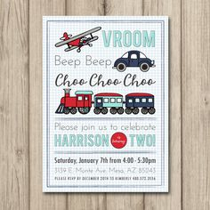 PLANES TRAINS and AUTOMOBILES Birthday Party Invitation