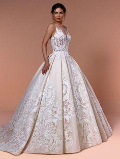 Romantisches Brautkleid mit Spitzenapplikationen auf Oberteil und Rock und raffinierter Rückenansicht. Couture, Formal Dresses, Wedding Dresses, Rock, Ball Gowns, Fashion, Bridal Gowns, Boyfriends, Tops