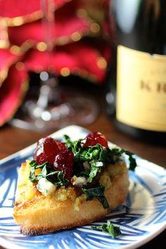 Holiday Appetizer: winter canapé - sweet potato, bleu cheese, walnut, kale, cranberry gastrique