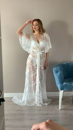 Weddings Discover Lace bridal robe with train sheer robe lace robe boudoir robe wedding day maxi bridal robe boudoir lingerie flared sleeves Lace Bridal Robe, Bridal Robes, Bridal Nightgown, Pretty Lingerie, Beautiful Lingerie, Bridal Nightwear, Wedding Night Lingerie, Wedding Night Dress, Night Outfits