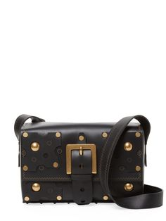 VALENTINO WOMEN'S STUDDED SMALL LEATHER CROSSBODY BAG - BLACK. #valentino #bags #shoulder bags #leather #crossbody #