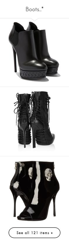 """Boots...*"" by slytheringhost ❤ liked on Polyvore featuring shoes, boots, ankle booties, heels, sapatos, booties, black ankle boots, black booties, black bootie and black heeled boots"
