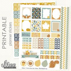 Fall/autumn stickers PRINTABLE Planner Stickers par MeeDigiScrap