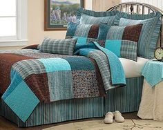 LOVE this blue and brown.... great color combo for beginner quilt.