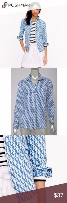 J Crew Seahorse Boy Blue White Button Down Shirt 4 Total length is 24 inches.   Bust is 38 inches, unstretched.  Excellent condition J. Crew Tops Button Down Shirts