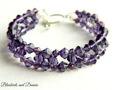 Purple Glass Beaded Bracelet by Bluebirdsanddaisies on Etsy