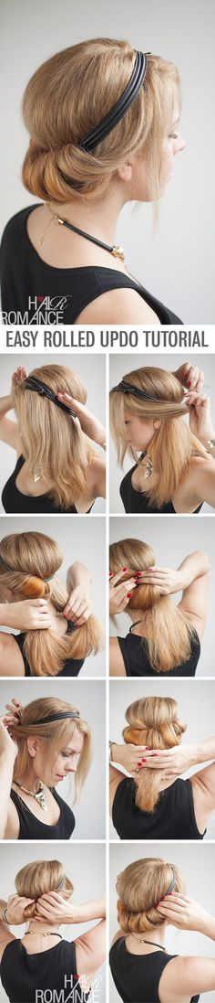 How to do a chic rolled updo - Le chignon roulé dans un headband tutoriel