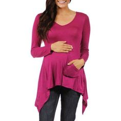 24/7 Comfort Apparel Women's Maternity Uneven Tunic Top, Size: Medium, Pink