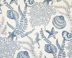 Seahorse fabric ocean reef blue toile - A seahorse seashell ocean reef fabric, done as a blue toile! This is also available in blue on aqua. Used together they make each other pop!