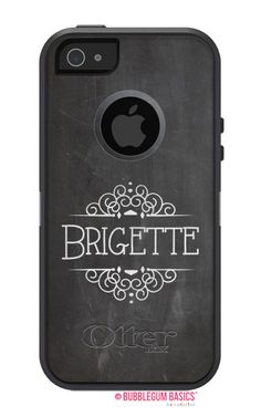 OTTERBOX Defender iPhone 5 5S 5C 4/4S iPod Touch 5G Case Chalkboard Gray Fancy Flourish Any color Name Initials Personalized Monogram