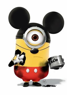 Mickey Minion by danps Hey, this is Mickey Minion. For so long I have this idea, today I finally had time to paint this awesome Mickey, no, Minion. Amor Minions, Cute Minions, Minions Despicable Me, My Minion, Minions Quotes, Minions 2014, Minion Stuff, Minion Banana, Funny Minion