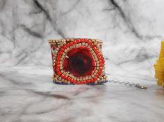 Red Rose Bracelet Bohemian Cuff Bracelet One of a by JewelryLanChe #red #rose #flower #bracelet #boho #bohemian #bohochic #etsy #cuff