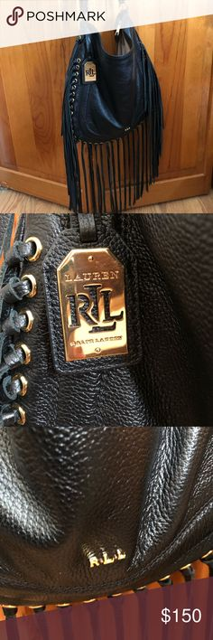 Lauren Ralph Lauren black fringe handbag Fringe galore! Whether you want to spice up and outfit or get in touch with your inner rocker chick- this bag is perfect. Tasteful fringe with soft genuine leather. This slouchy shoulder bag has tan interior and plenty of pockets Lauren Ralph Lauren Bags Shoulder Bags