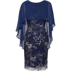 Buy Gina Bacconi Jodelle Cape Dress, Navy from our Women's Dresses range at John Lewis & Partners. Free Delivery on orders over Vestidos Marisa, Sleeves Designs For Dresses, Modelos Plus Size, Latest African Fashion Dresses, Dress Shapes, Cape Dress, Outfit Combinations, Matching Outfits, Simple Dresses
