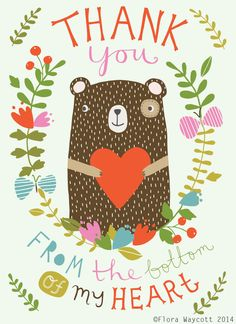 Illustration flower Thank you bear