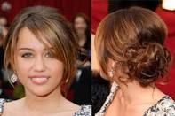 Miley Cyrus- Curly Bun front/side view with Medium length Bangs