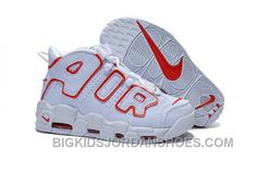 official photos 80d0c 1996d Cheap Women Nike Air More Uptempo Pippen White Red For Girls Top 8waYA