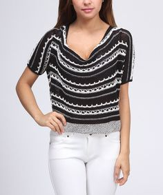 Take a look at this Black & White Stripe Crop Top - Women on zulily today!