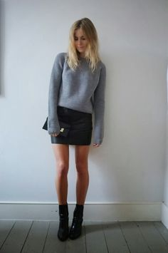 Grey Sweater, Black Mini Skirt, Ankle Boots
