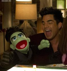Adam Lambert with Glee puppet - awesome! Embedded image permalink