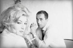 Monica Vitti and Michelangelo Antonioni on the set of La notte (1960). Photo by Gianfranco Moroldo.