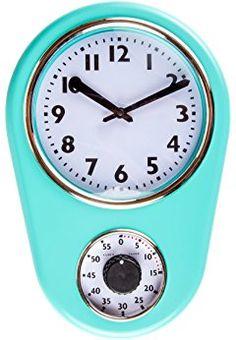Retro Kitchen Timer Wall Clock, Torquise.
