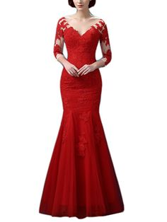 Emmani Women's V-neck Decals Mermaid PROM Dress Red Pageant. Fabric: net, satin.Adornment: decals.Back: the zipper. Occasion:Party,Prom,Celebrity,Evening,Banquet,Wedding. Please note that the delivery date that you saw is automatically setted by Amazon system, usually it will cost about 10-15 days for you to get the beautiful dress.However if you need the dress less than 15 days, please choose expedite delivery and contact us in advance,then we will make the dress for you in priority for...