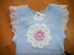 Vintage lace- Embellished Baby Singlet - Crochet - by HootnNanny on madeit