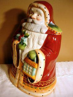 *NONNI'S OLD WORLD SANTA CERAMIC ~ Cookie Jar, 80 oz