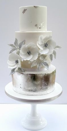 Silver and White Wedding by Isabelle's Cake Design - http://cakesdecor.com/cakes/271749-silver-and-white-wedding