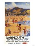 Barmouth, England - Beach Scene Mother and Kids British Rail Poster Kunst