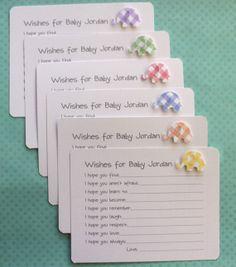 Baby Shower Wish Cards Advice Set of 10 Linen by AzureHaven, $10.00