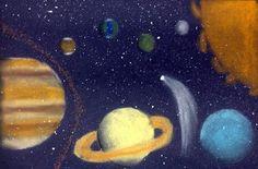 5th Grade - Solar System - Value - Chalk pastels, splattered tempera on black construction paper