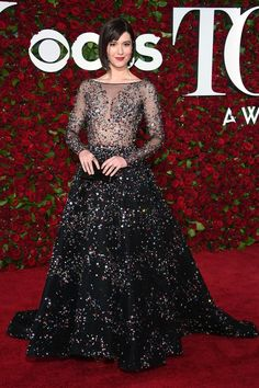 Mary Elizabeth Winstead Zuhair Murad Couture Tony Awards Celebrity Red Carpet Dresses Real Picture 2016 Crystals Evening Prom Gowns 2k15
