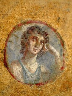 Pompeian girl in a rondel, before 79 CE. From a cubiculum in the House of the Golden Cupids, Pompeii Ancient Pompeii, Pompeii And Herculaneum, Pompeii Italy, Rome Painting, Art Romain, Empire Romain, Roman Art, Greek Art, Classical Art