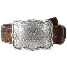 Ariat Rectangle Rope Edge Shield Buckle Belt (Black/Tan) Men's Belts ($45) ❤ liked on Polyvore featuring men's fashion, men's accessories, men's belts, mens cowboy belts, mens western leather belts, mens tan belt, mens belts and mens western belts