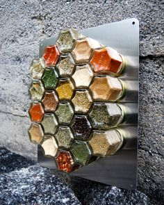 Love this idea!! New backsplash, perhaps?? Magnetic Spice Rack for Compact Living 24 EMPTY by GneissSpice, $125.00